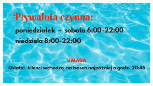 plakat pływalnia godziny otwarcia