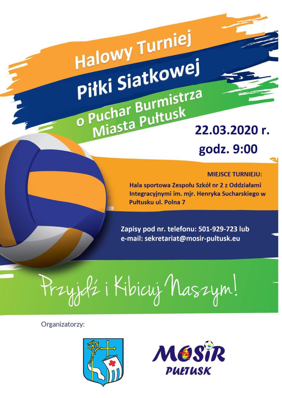 Zapraszamy na Halowy Turniej Piłki Siatkowej o Puchar Burmistrza Miasta Pułtusk