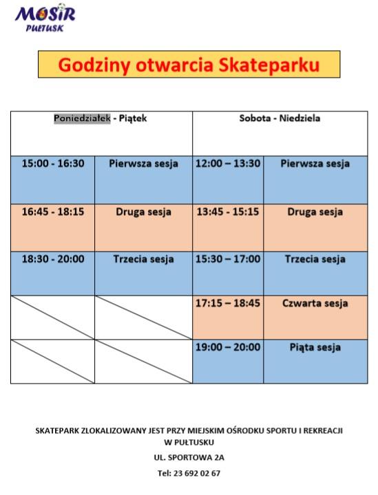godziny otwarcia skateparku
