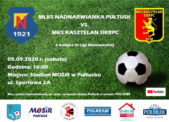 Plakat MLKS Nadnarwianka Pułtusk - MKS Kasztelan Sierpc