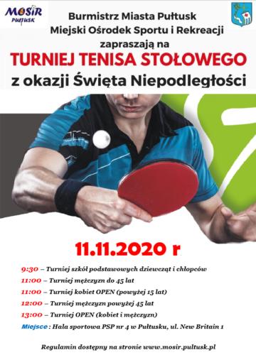 Plakat Turniej tenisa stołowego 11.11.2020